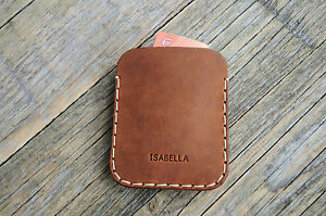 Dark-Brown-Leather-Wallet-Personalized-Credit-Card-Cash-Holder-2-Pockets