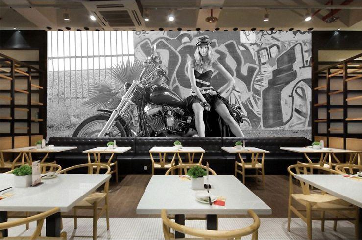 3D Motorrad-Mädchen 35656  Fototapeten Wandbild Fototapete BildTapete Familie DE