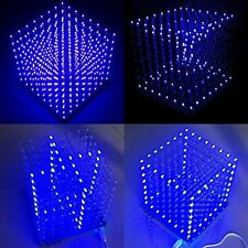 New 8x8x8 LED Cube 3D Light Square Blue LED Electronic DIY Kit
