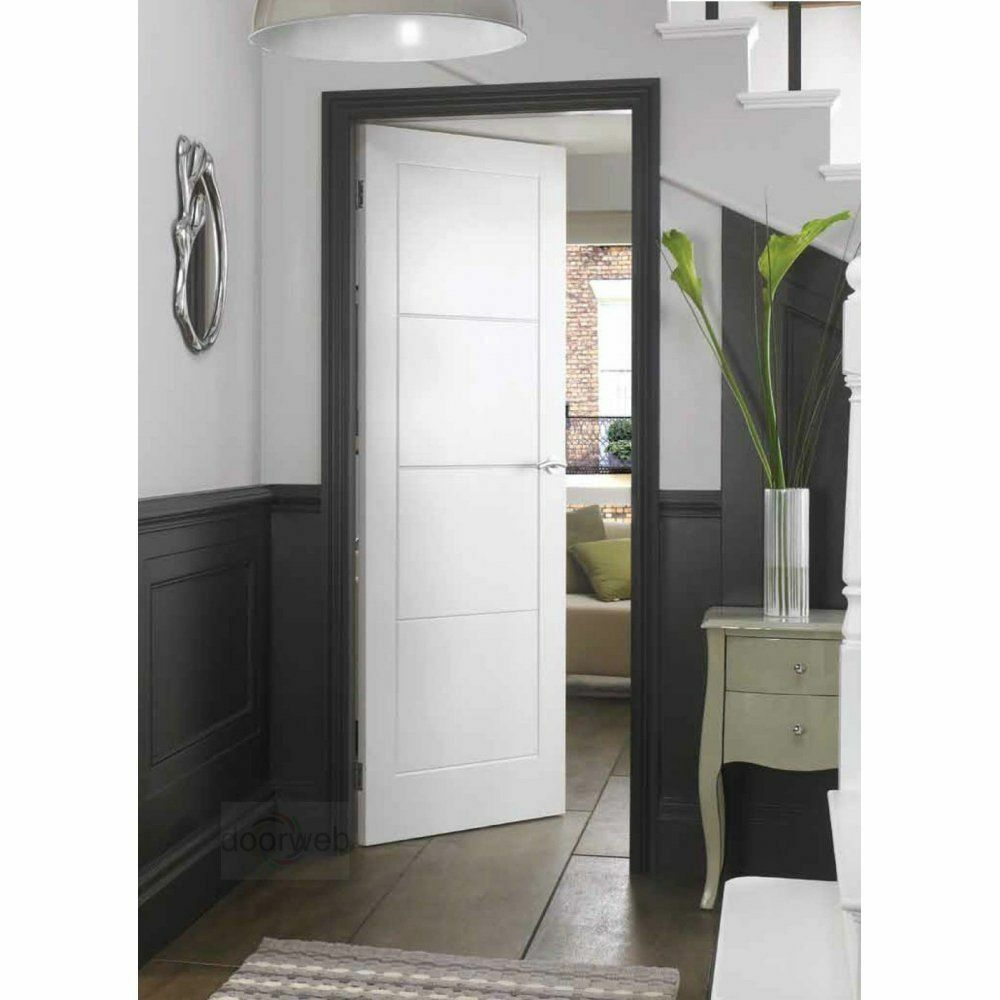 White internal doors ladder 4 panel moulded primed white for Moulded panel doors