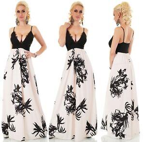 wholesale dealer b0f41 1dccb Details zu ITALY Maxi Sommer Kleid lang tiefer Ausschnitt mit Fransen Party  Strand