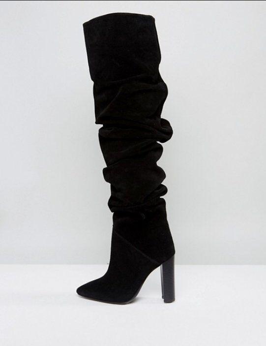NEW MORGAN MORGAN MORGAN schwarz SUEDE LEATHER SLOUCH HIGH HEEL Stiefel Größe 8 dda2fc
