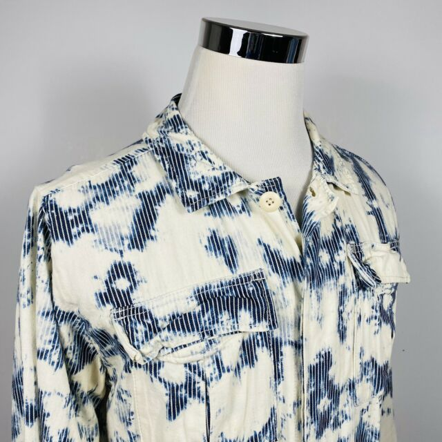 BDG Mens Medium Acid Washed Denim Shirt Jacket Blue White Striped Cotton