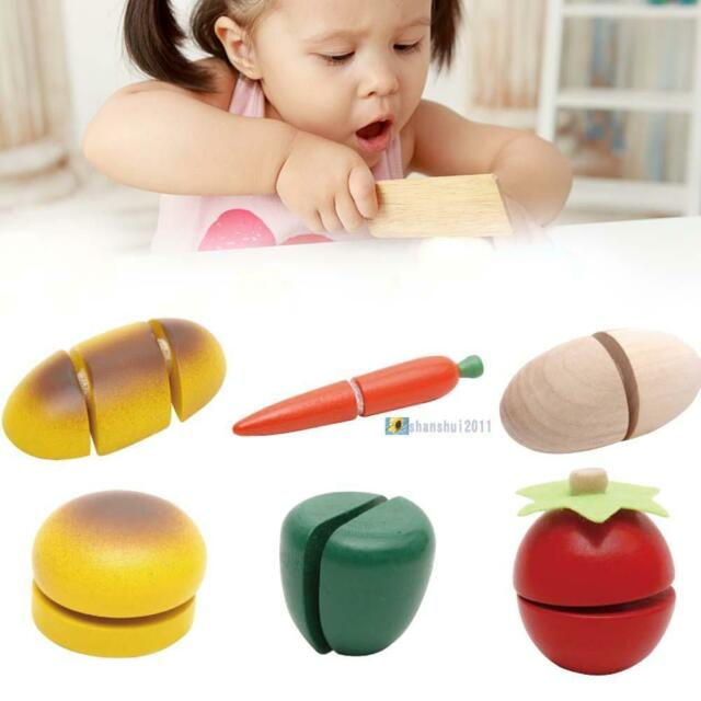 Child Pretend Role Play Kitchen Fruits Vegetables Food Toy Wooden Cutting Set T0