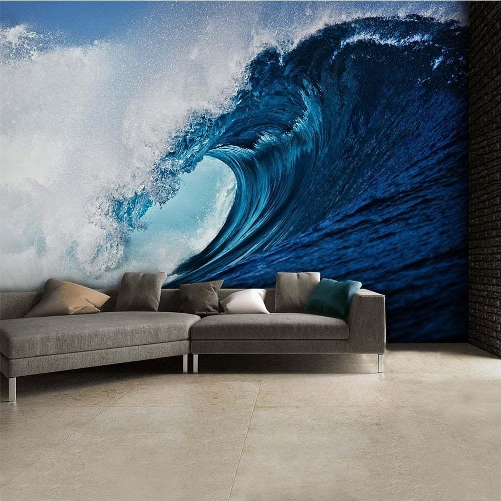Large bedroom & living room paper wallpaper 232x315cm bluee Ocean WAVE wall decor