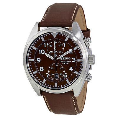 Seiko Chronograph Brown Dial Mens Watch SNN241