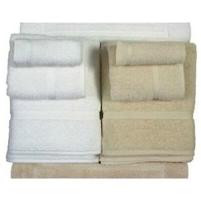 6 NEW LARGE 13X13 BEIGE COTTON HOTEL WASH CLOTHS PREMIUM DOBBY BORDER RINGSPUN