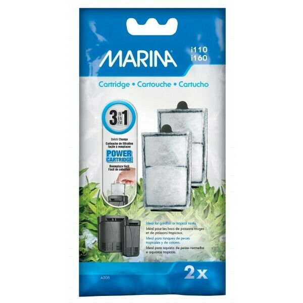Replacement Cartridge for Marina Power Aquarium Filters i110 / i160 - 2 Pack