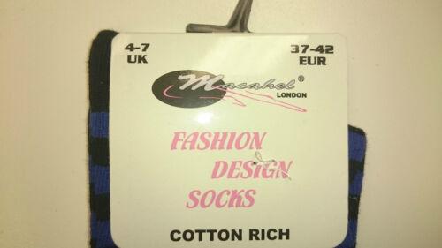 Fashion design socks// Cotton rich// Long knee socks// Dark Blue Black 688