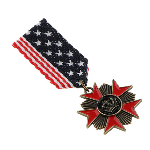 Star Striped Fabric Brooch with Crown Carving Medal Brooch Pin Uniform Badge