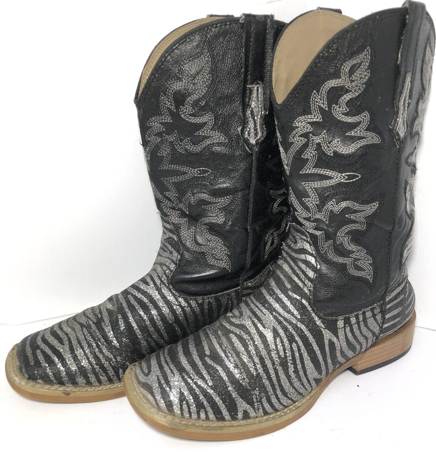 Roper Kids Black Zebra Print Cowboy Western Boots… - image 9