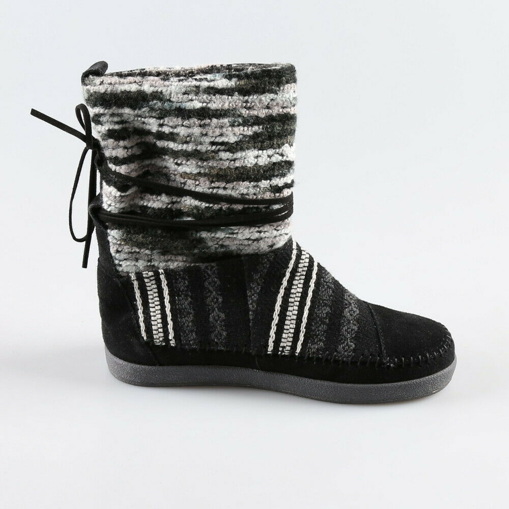Details about  /TOMS Black Multi Suede Leather Woven Textile NEPAL Pull On Boots Sz 8