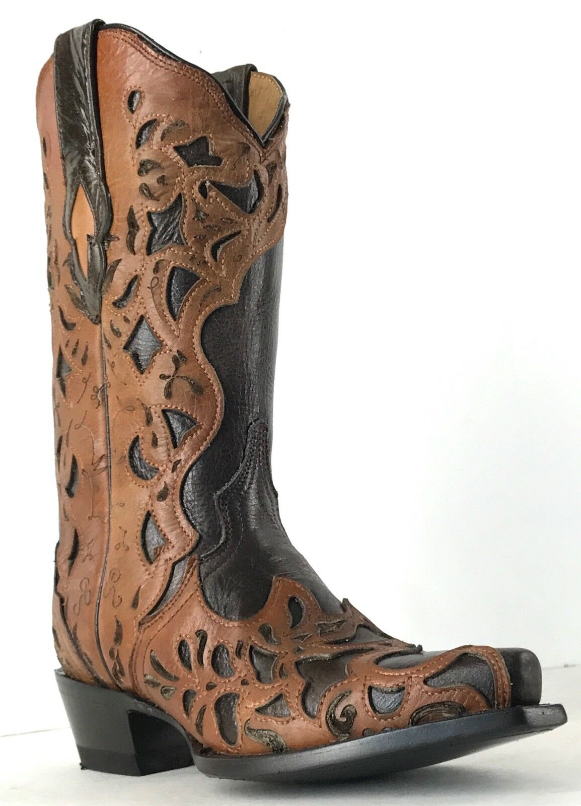 Women's New Beautiful Overlay Leather Cowgirl Western Boots Brown Sale