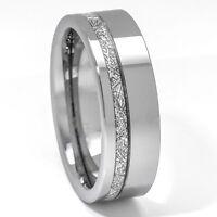 Meteorite Ring 8mm Tungsten Carbide Comfort Fit Mens Wedding Band