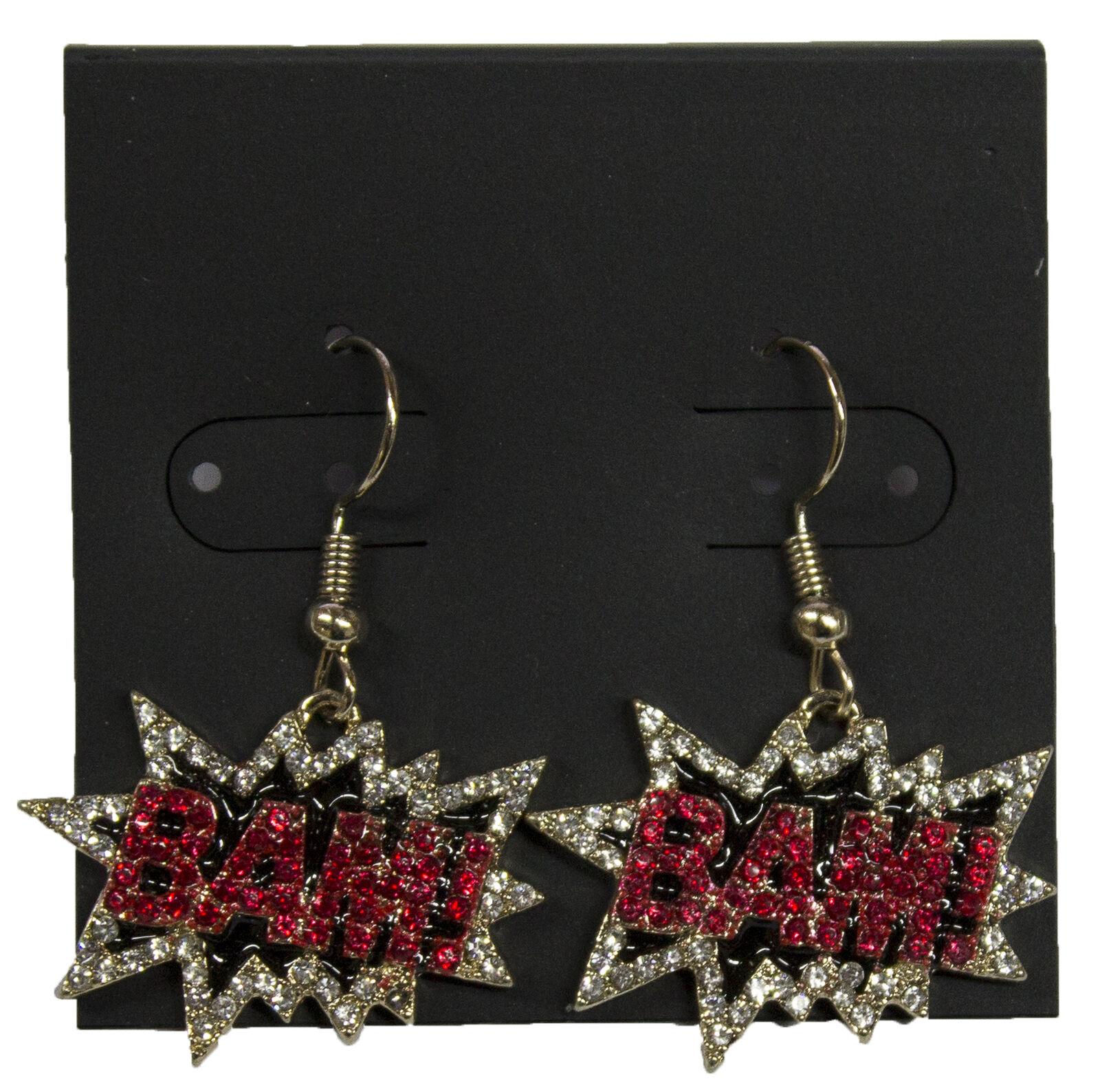 Pop Art Earrings with Rhinestones and Enamel