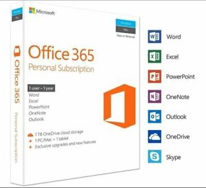 Details about Microsoft Office 365 Personal - 1 User - 1 Year Subscription  - 5 PC or MAC 2019