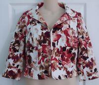 St. John Ruby Floral 3/4 Sleeve Jacket Blazer Womens Size 4 Hook Close Front