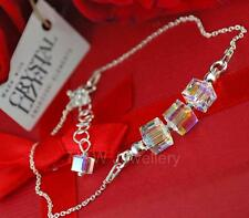925 STERLING SILVER CHAIN BRACELET MADE WITH SWAROVSKI Elements CUBE CRYSTAL AB