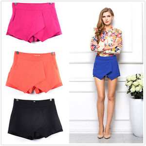 New Women Pleated Irregular Tiered Culottes Skorts Shorts Skirt Slim Short Pants
