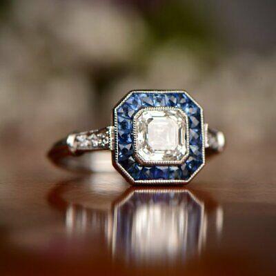 Art Deco Vintage Asscher Cut White Diamond Antique Engagement Ring 925 Silver Ebay