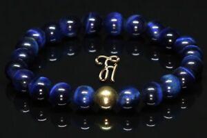 Tigerauge-925er-sterling-Silber-vergoldet-Armband-Bracelet-Perlenarmband-blau