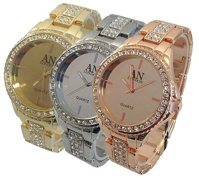 AN London Ladies/Girl's Jewelled Bezel Mirror Dial & Metal Bracelet Watch-8840
