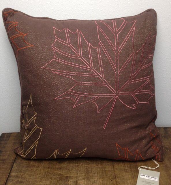 Kim Seybert Fall Decorative Pillow Rectangle Brown Beaded Leafs NEW Mesmerizing Kim Seybert Living Decorative Pillows