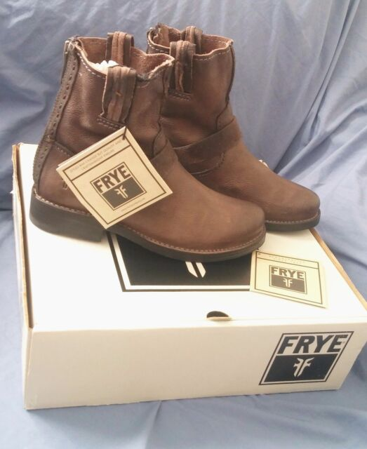 FRYE Boots Vicky Artisan Brown Leather Back Zip Ladies 8M - $400 Retail