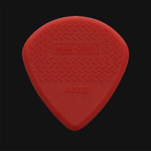 DUNLOP-Max-Grip-Jazz-III-guitare-Picks-Plectrums-rouge-1-2-3-4-5-6-10-12-20-24-36