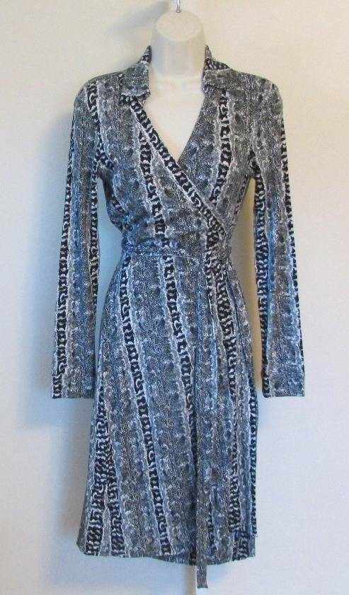 Diane von Furstenberg New Jeanne Two Oasis Snake schwarz wrap dress 8 Weiß DVF
