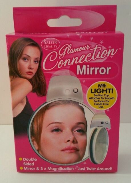 DOUBLE SIDED LIGHT UP MIRROR COMPACT WITH SUCTION CUPS MAGNIFYING SIDE MAKEUP