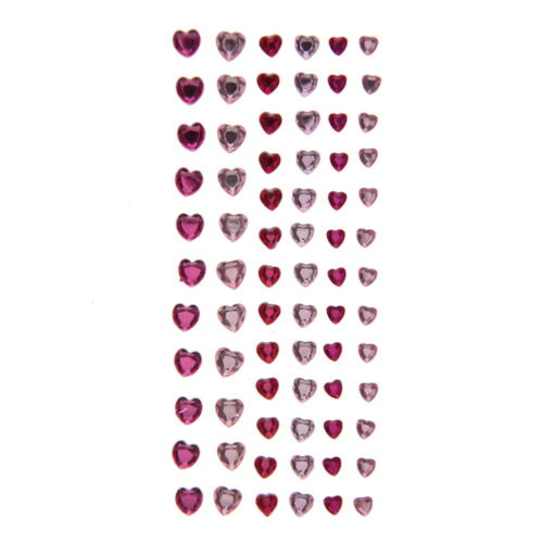 American Crafts DCWV Heart Gem Foam Stickers Pink Self-Adhesive 74 Pieces