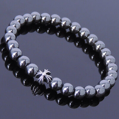 Men Women Gemstone Bracelet Hematite 925 Sterling Silver Cross DIY-KAREN 400