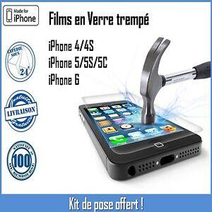Vitre-Film-de-protection-en-verre-Trempe-ecran-incassable-iPhone-4-4S-5-5S-5C-6