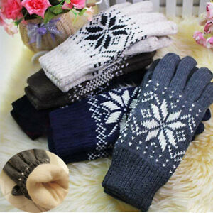 Fashion-Unisex-Winter-Double-Layer-Thick-Warm-Snowflake-Knitted-Wool-Gloves