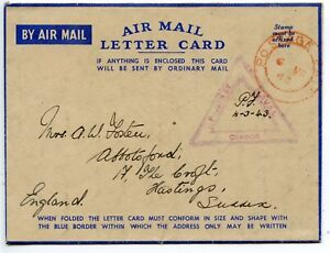 KENYA-1943-Air-Mail-Letter-Card-red-POSTAGE-PAID-cds-to-GB-triangular-Censor