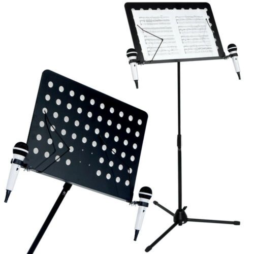 Heavy Duty Orchestral Conductor Sheet Music Stand Holder Tripod Incl Mic Holders
