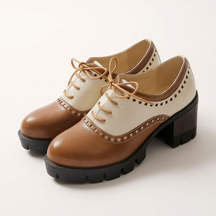 Womens Brogue Oxfords Lace up Carved Platform Chunky shoes shoes shoes Fashion Cute Size US c6ac79
