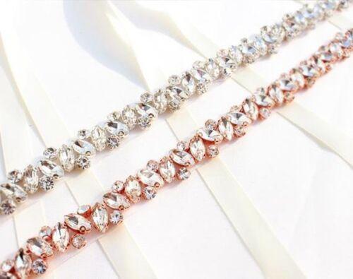 Rose Gold Thin Bridal Belt Wedding Belt Bridesmaid Belt Rhinestone Bridal Sash