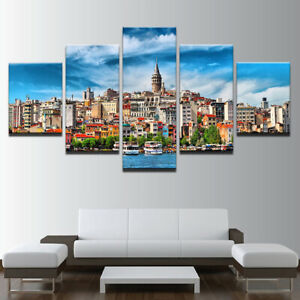 Details About Istanbul Turkey City 5 Panel Canvas Wall Art Home Decor Print Poster
