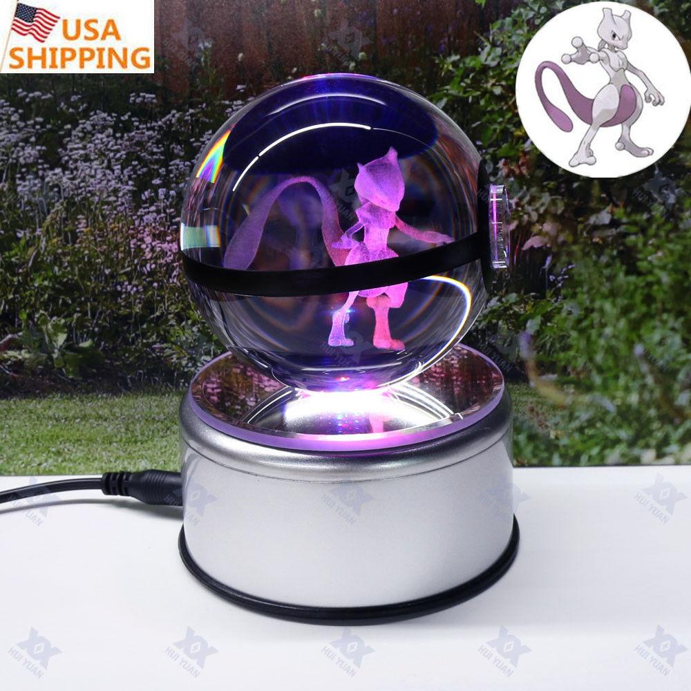 3D Crystal Ball Pokemon Ball Elf Pikachu Charizard LED LED LED Night Light Bedroom Lamp 4bf17d