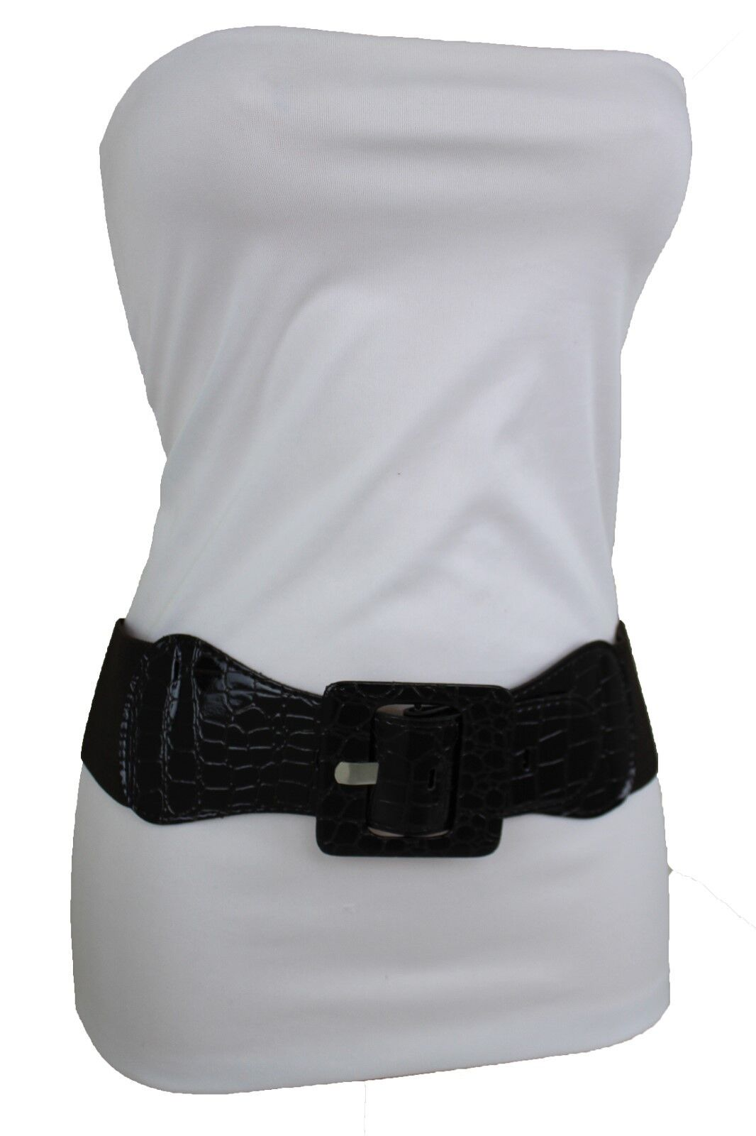 Women Dark Brown Stretch Faux Leather Wide Waisted Belt Big Square Buckle XS S M