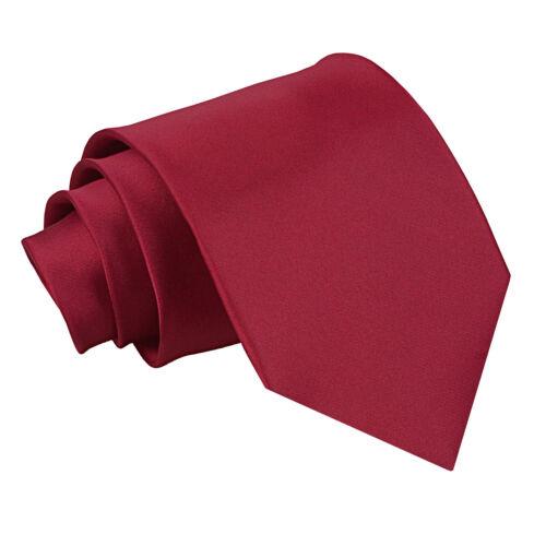 DQT raso Plain Solid Borgogna Formale Matrimonio Cravatta Da Uomo Classic