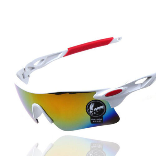 Mens OULAIOU Sunglasses White Red Cycling Triathlon Bike Running Sport HARD CASE