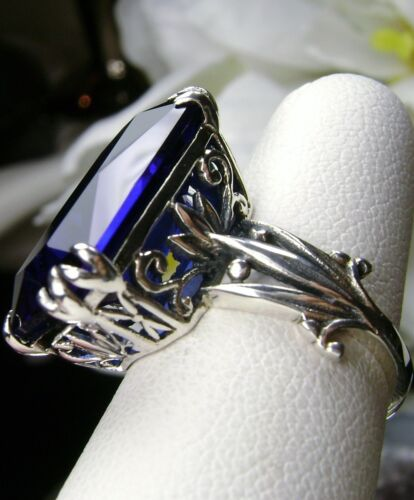 13ct *Sapphire* Sterling Silver Floral Leaf Filigree Ring Size {Made To Order}