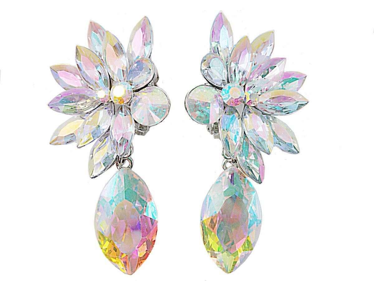 AB AURORA BOREALIS LARGE LONG CLIPS earrings drag queen wedding costume jewelry