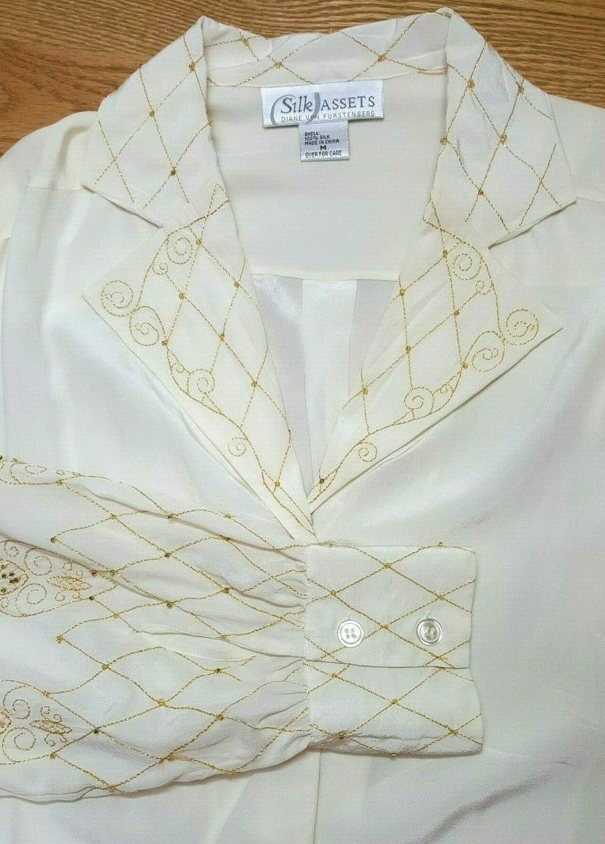 Silk Assets DVF Ivory Beaded Blouse Tunic M Floral Gold Metallic Elegant Party