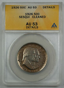1926-Sesqui-Commemorative-Silver-Half-Dollar-Coin-ANACS-AU-53-Detail-Cleaned
