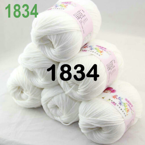 Sale New Lot 6 Skeins x 50gr Soft Cashmere Wool Silk Children Hand Knitting Yarn