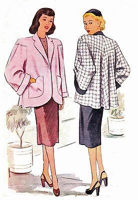 #211 1947 DROPPED SLEEVE YOKE SHORT SWING COAT PATTERN